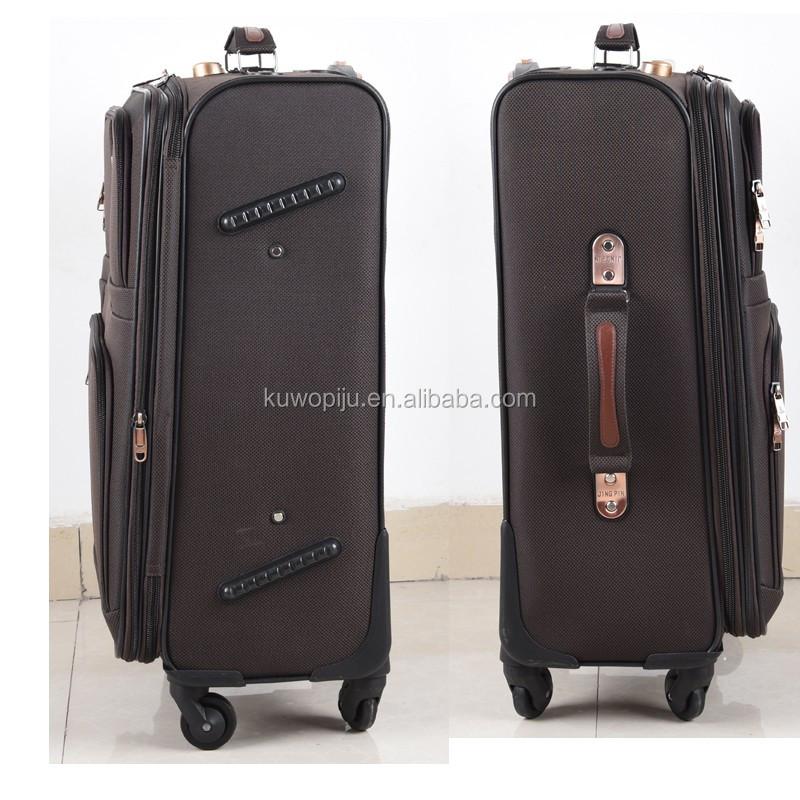 काले रंग सस्ते कपड़े ईवा ट्रॉली मामले 4 पहिया यात्रा 3 PC सामान सेट