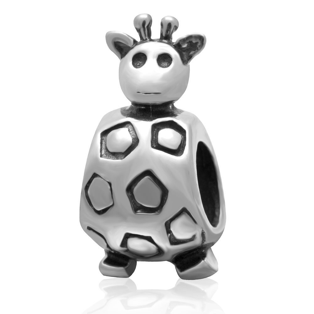 dddaaf57e Get Quotations · Ollia Jewelry 925 Sterling Silver Beads Adorable Short  Neck Giraffe Charm African Wild Animals Conservation Charms