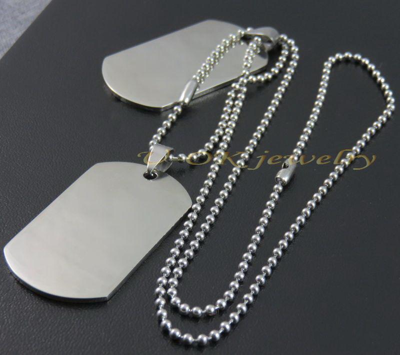 Нержавеющей стали пустой двойной медальон ожерелье кулон, Из двух частей жетоны комплект мужская военная армия теги, Мода ювелирных изделий