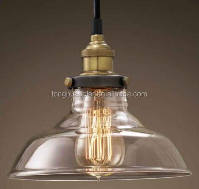 Vintage Pendant Light Glass Lamp Shade With Copper Bulb Holder ...