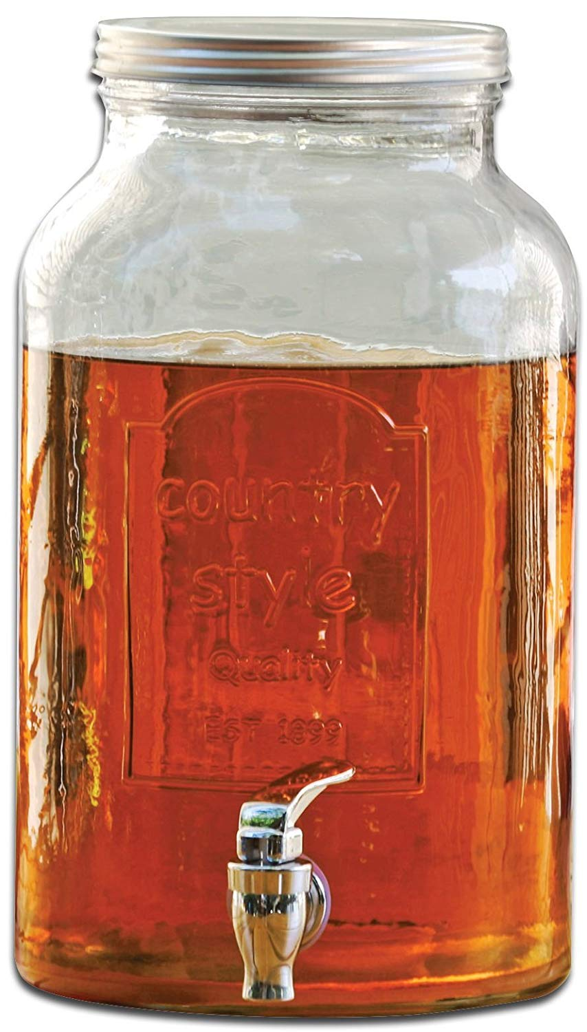 Circleware Country Mason Jar Glass Beverage Drink Dispenser with Metal Lid, 1.5 Gallon
