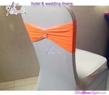 orange spandex chair cover sash bands with rhinestone ribbon buckle for wedding