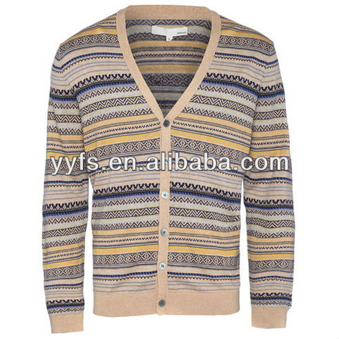 The casual cardigan 100%cotton men's knitted wear