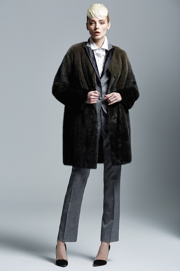 Business Women Style Luxury Olive Color Mink Fur Coat
