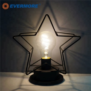 EVERMORE Star Shaped Iron Frame Modern Style Cool Battery Operated LED Desk Lamp