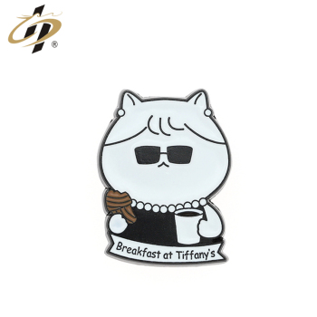 Faddish design custom cute kitty Breakfast metal lapel pin