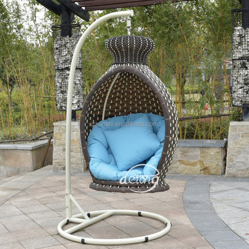Brown Pe Rattan Outdoor Furniture Garden Swing Pe Hanging