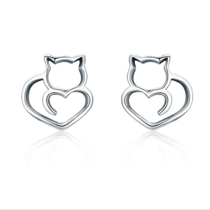 Guangzhou factory directly sale 925 sterling silver stud earring cut cat erring Sampled S925