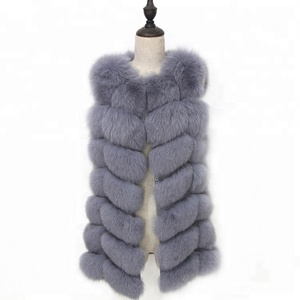 100% Real Fox Fur Vest Natural Whole Fox Fur Vest for Women Regular Standard Covered Button Design Jackets Coat Plus size
