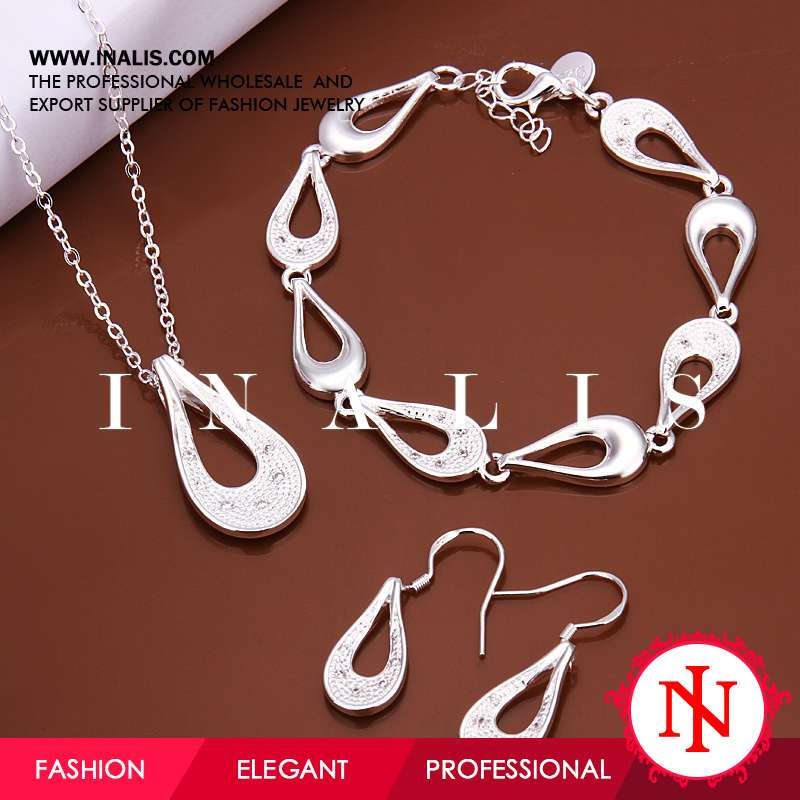 2014 teardrop shaped wholesale silver jewelry china S611