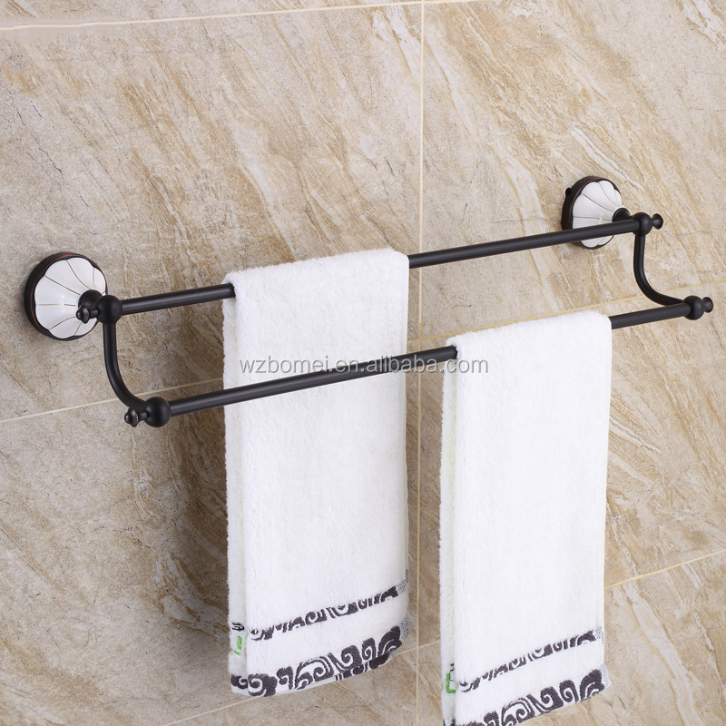 Household Hotel Bathroom Accessories Wall Mounted ORB Brass Towel Bar BM7302B Double Towel Bar Oil Rubbed Bronze With china