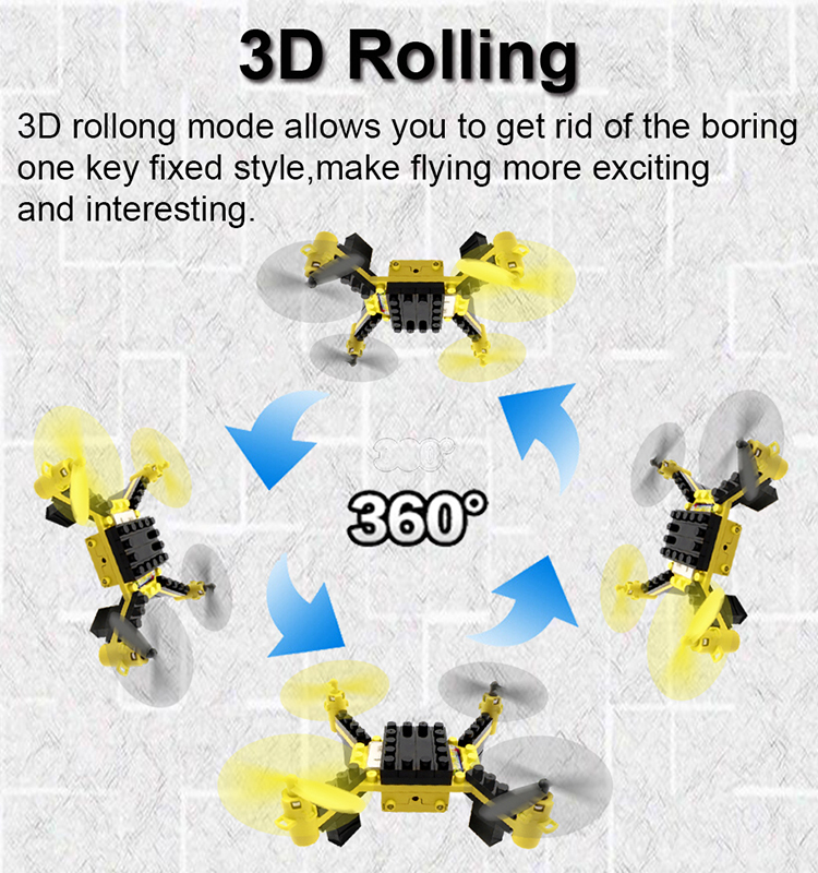 4. T11S_Yellow_WIFI_FPV_DIY_Building_Blocks_Drone_with_0.3MP_Camera_RC_Drone