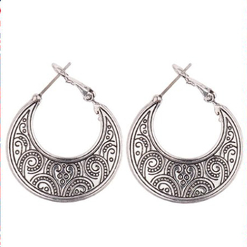646a7b1529097 Silver Boho Earrings Egyptian Vintage Style Tribal Jewelry Accessories For  Hippie Gypsy Women Bohemian Ethnic Engraved Simple - Buy Ethnic ...