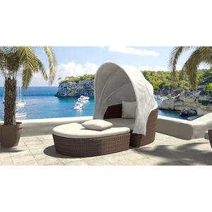 Sigma hot selling outdoor furniture rattan sectional daybed with canopy