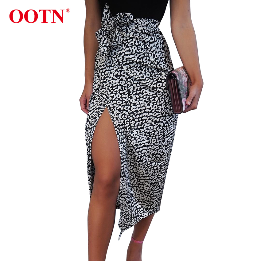 OOTN Female Streetwear Autumn Long Skirt 2020 Winter Leopard Print High Waist Skirts Sexy Lace-Up Split Women Wrap Midi Skirt