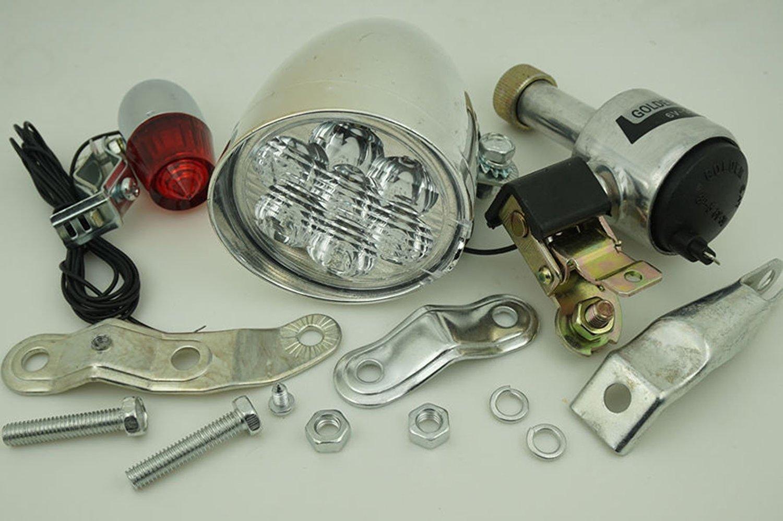 Generic Bicycle Motorized Bike Friction Generator Dynamo Headlight Tail Light Lamp Set