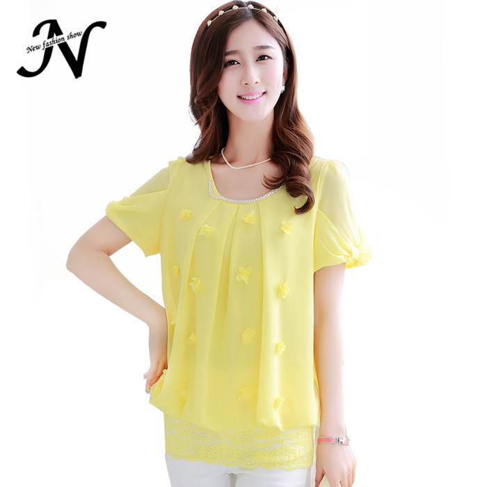 2015 Summer Fashion Casual Cute Plus Size Pink Yellow White Lace Tops Ladies Office Shirt Women Short Sleeve Chiffon Blouse 1637