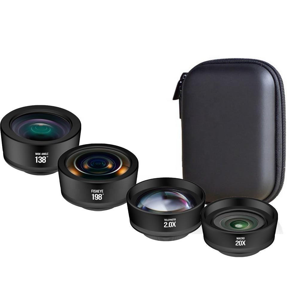 Newest 4 in 1 telescope  fisheye wide angle macro lens kit for mobile camera lens