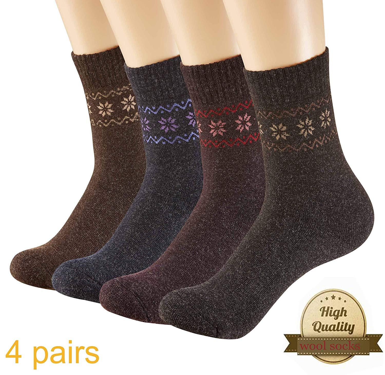 Wool Socks Women Warm Sports Socks Winter Hiking Knit Socks Warm Thick 4  Pack (2018 b47e36375