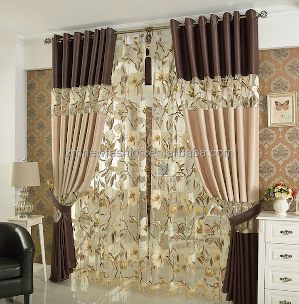 New Style Embroidered Curtain China Fabric Curtain Latest