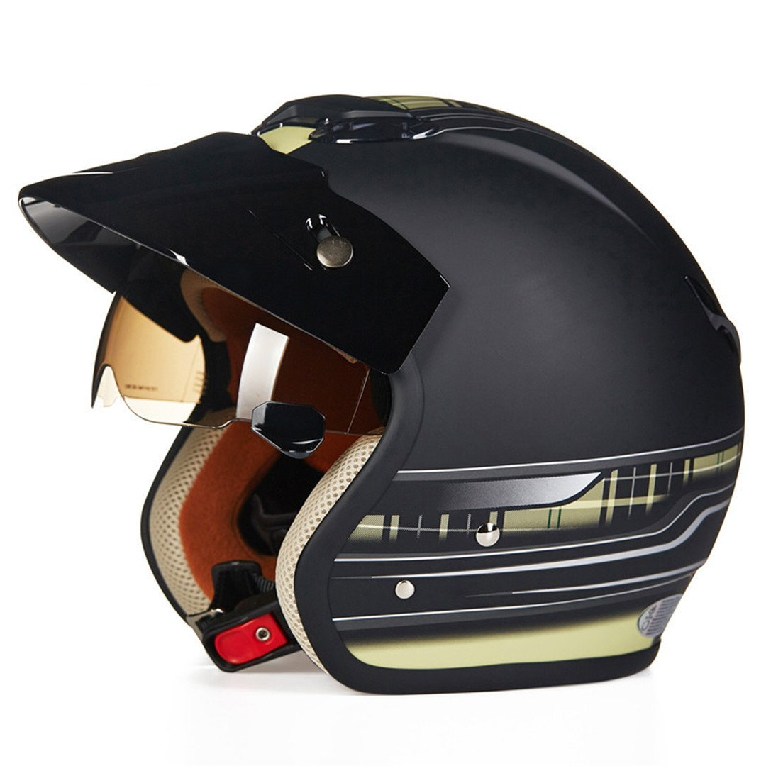 a54f5e466 Get Quotations · TOUKUI Face 3 4 Motorcycle Helmet Scooter Helmet Vintage  Retro Motorcycle Safety Helmet