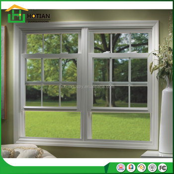 UPVC Double Hung Windows Plastic Vertical Sliding Window American House Vinyl Window with J-channel Profile