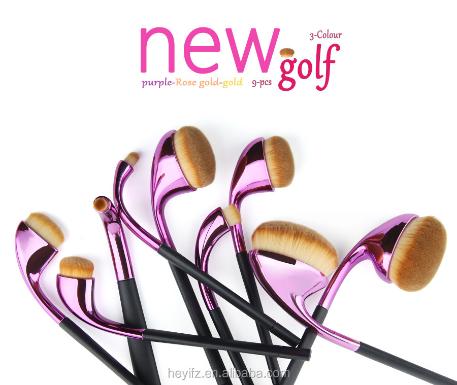 Synthetic Hair High Quality 9PCS Multicolored Purple Golf Makeup Brush Set