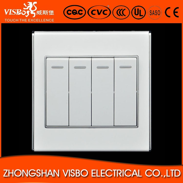 hot selling 4 gang 1 way light switch with led night light