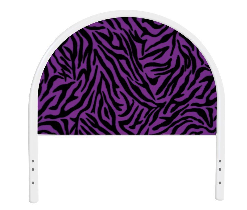 The Furniture Cove New Twin Size Children's Youth White Metal Headboard with Custom Purple Zebra Print Upholstered Headboard