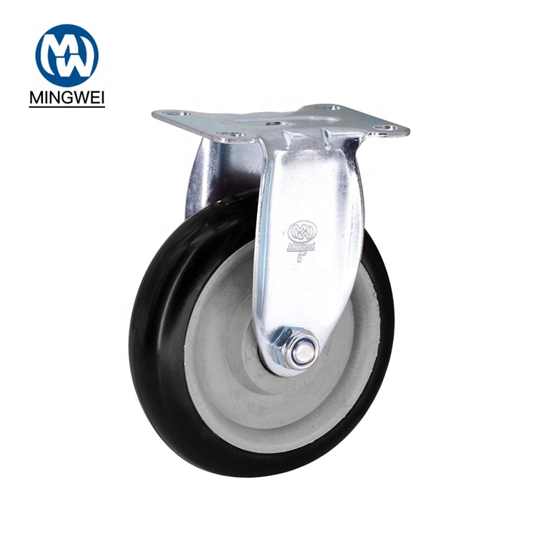 Cina 125 Mm 5 Inch Industri Hitam PU/PVC Hand Trolley Fixed Plate Caster Wheel