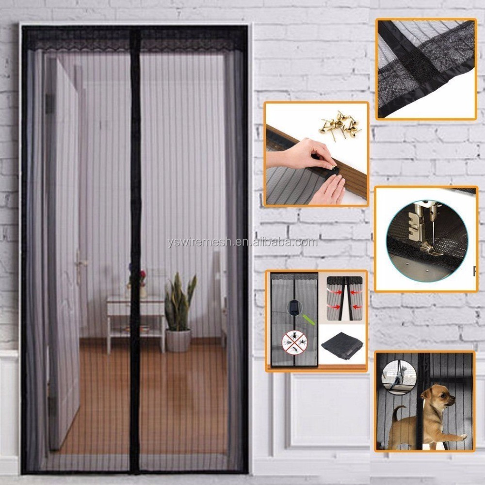 Hand free magnetic net screen/magnetic mesh screen door/hanging fly screen curtain