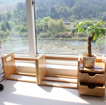 Simple Desktop Bookshelf Bamboo Desk Organizer With 1 Or2 Drawers Or No For Office
