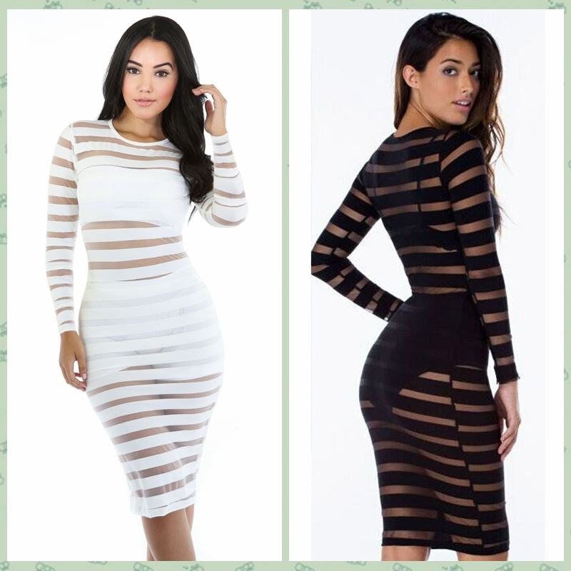 Get Quotations · 2015 Women Sheer See Through Evening Party Casual Dress  Mesh Stripes Patchwork Black White Night Club c781ac524
