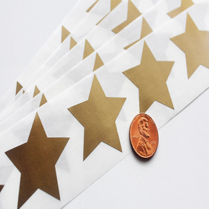 "Scratch Off GOLD Star Label 1.5"" 5 point star scratch-off labels stickers for Schools Teachers Games & Promotions"
