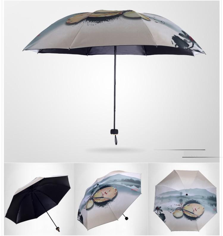 269e120e2c3f14 Chinese Ink Painting Orchid Fish Folding Umbrella Super Windproof Anti-UV  Rain Sun Umbrella Rain Women parasol - us31