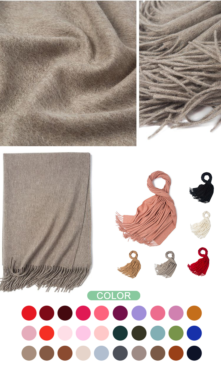 HC-YR002 low price stock winter cashmere woolen scarf 30 different  pure color with tassel 70*200cm