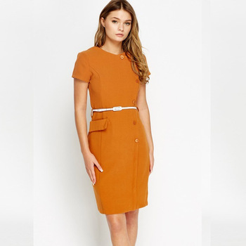 dff6711d29 Office Woman Wear Summer Midi Ladies Shop Sundresses Short Sleeve Brown  Knee Length Fitted Dress