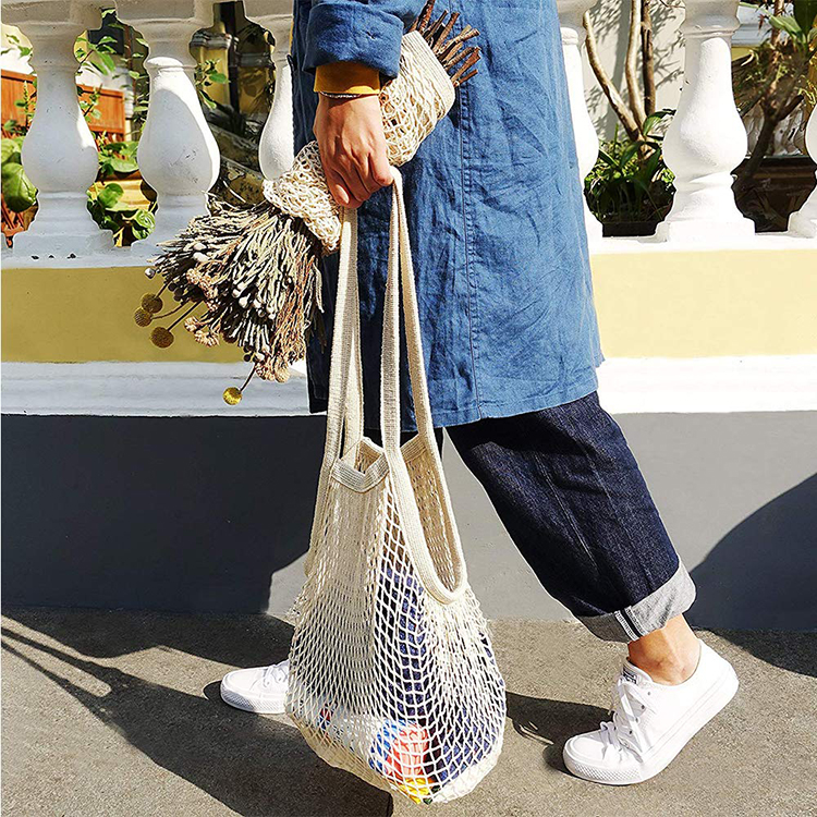 Custom Cotton Net Shopping Tote Ecology Market String Mesh Bags for Grocery