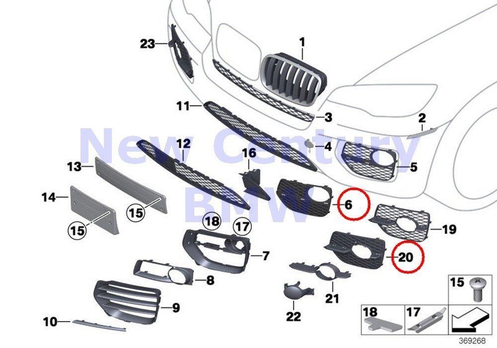 Genuine BMW X6 E71 Closed Grid Fog Light Grille Left OEM 51117312605