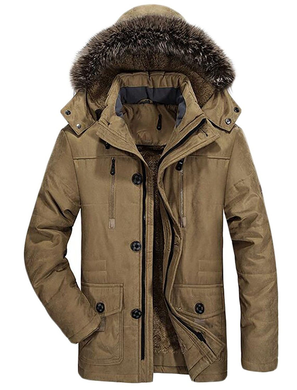 ONTBYB Mens Casual Faux Fur Parka Jackets Fleece Lined Hood Toggle Thicken Coat