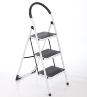 Foldable 3 plastic steps household steel ladder movable stairs