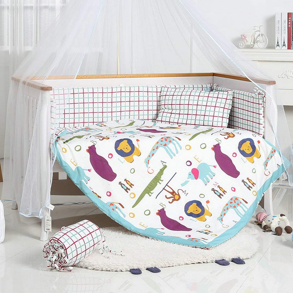 i-Baby 9 Piece Nursery Crib Bedding Set for Newborn Baby Infant Crib Sheet Duvet Pillow Bumper Cot and 100% Cotton Printed Cover (Multi)