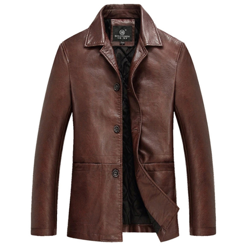 High Quality Thicker Winter Leather Jacket Men Mens