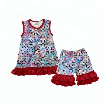 sleeveless summer girls floral pattern match ruffled pants boutique clothing set