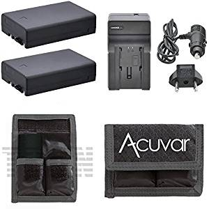 2 D-LI109 Li-Ion Batteries + Car / Home Charger + Acuvar Battery Pouch for Pentax Camera K-50, K-30, D-L1109, K-r and other models, DL1109
