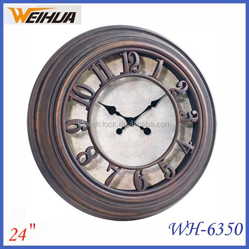 Home Decor plastic vintage wall clock Retro Style Decorative Round Wall Clock