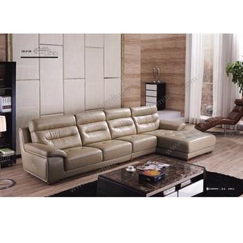 Neueste Holz Möbel Wohnzimmer Leder 5 Sitzer Sofa Set