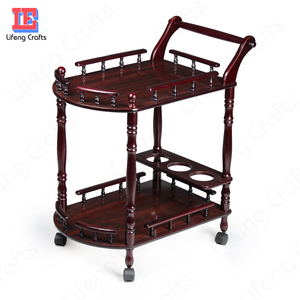 Antique and elegant design wood serving trolley with wine bottle rack and cart wheels for home hotel and restaurant room service