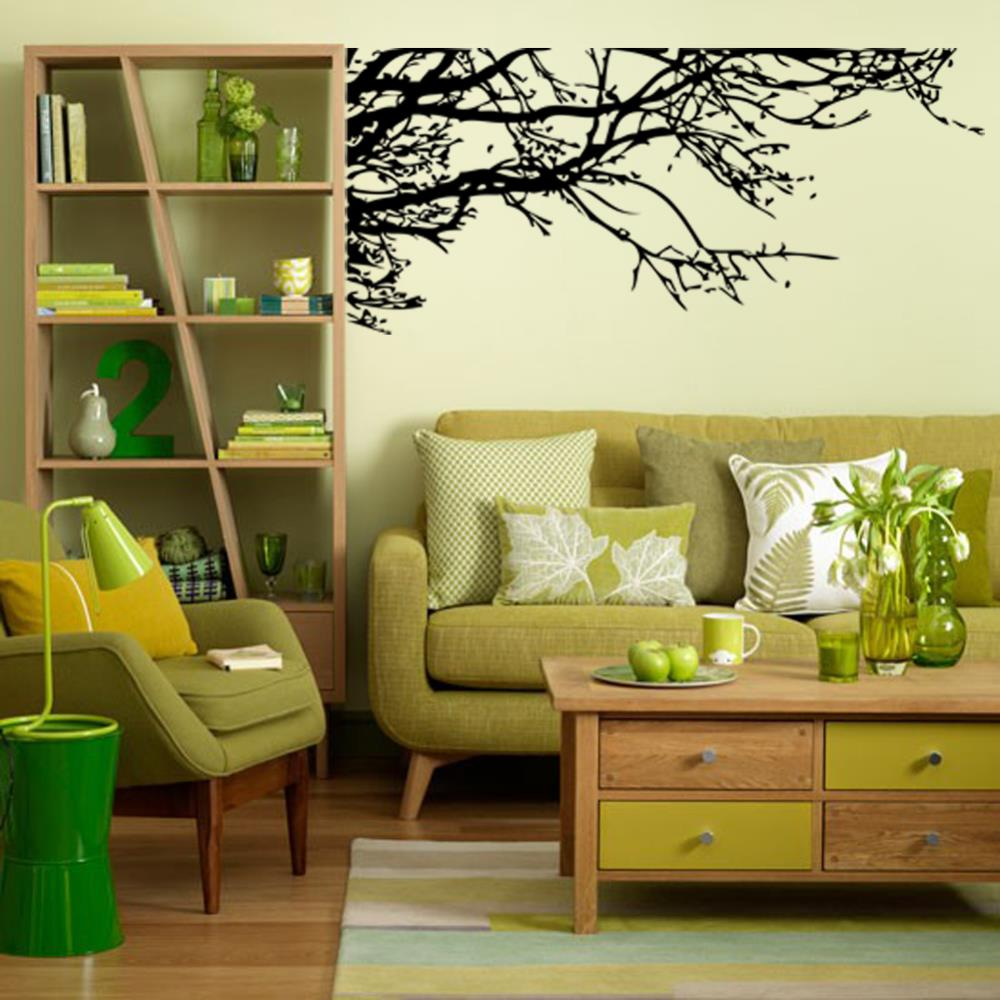 Big wall sticker black tree branch living removable vinyl - Removable wall stickers living room ...