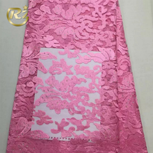 CZY-10 Graceful Embroidery With Rhinestone Lace Fabric